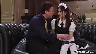 Pretty Asian housekeeper in uniform Anna Kimijima is fucked and creampied by senior man