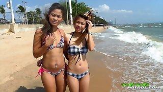 Tourist picks up four naughty Thai girls and fucks their yummy pussies