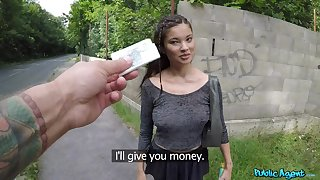 Youthful beauty agrees to fuck hither topple b reduce for cold currency