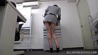 Japanese gossip columnist Ryo Tsujimoto loves teasing with her ass