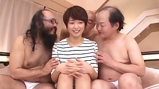 Lot of horny dudes down turns fucking model Nanami Kawakami