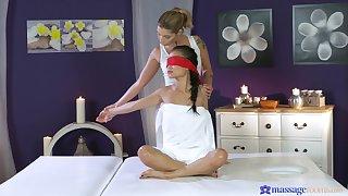 Erotic lesbian sex during a massage with Asian pornstar Pussykat