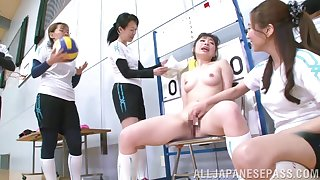 Nice tits Asian babes undressed coupled with fucked with sex toys on the floor