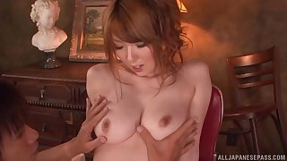 Trimmed pussy Japanese hottie Hatano Yui spreads her legs to ride