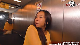 German asia milf wife seduced for cheating in lift
