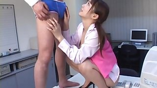 Quickie fucking in the office with titillating nurse Meguru Kosaka