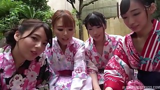 Unpremeditated man films in POV while four Japanese babes give head