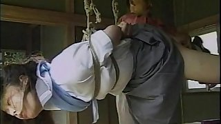 Sexy little Asian cookie gets tied beside and teased by her partner