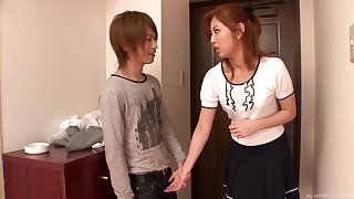 Cute Asian girlfriend Kazuki Asou drops on her knees to suck a Hawkshaw