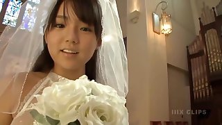 Young the man Japanese bride in church - Big Asian special charm