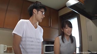 Asian mom pleases horny stepson with morning sex