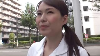 Small tits Japanese chick opens will not hear of trotters wide be pleasured with a toy