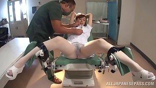 Slutty nurse gets pleasured in a doctors office - Nana Aoyama