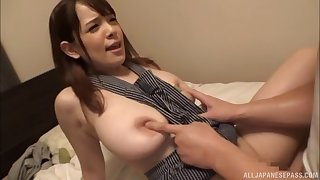 Playing with Chitose Saegusa's nipples and drilling her twat