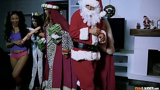 Perverted Santa fucks several bad girls and cums on their faces