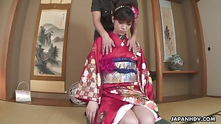 Seductive Japanese girl in kimono Yuria Tominaga gets her pussy finger fucked and licked