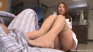 Alluring nice ass Asian model giving dick superb blowjob