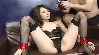 Blindfolded Asian MILF gets her pussy abused and fucked